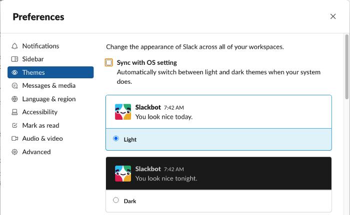 Alterar o tema do Slack baseado na escolha do sistema operacional.